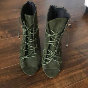 Brand new olive green lace up booties/heels
